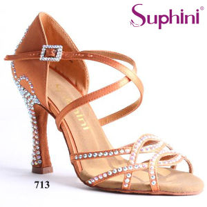 2017 Popular de zapatos de baile latino Flare satinado de alto tacón Zapatos de baile de Salsa Zapatos de baile profesional