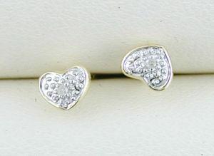 orecchino dell'oro bianco 10K con il diamante (LED1043)