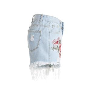 女性のための2018本のデザインポリエステル刺繍の不足分のジーンズ