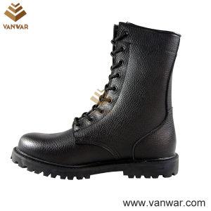 Un plein cuir unisexe de bottes de combat militaire de noir (WCB031)