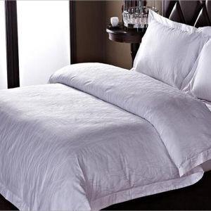 100%Algodón calidad jacquard sábana blanca conjunto de ropa de cama de hotel