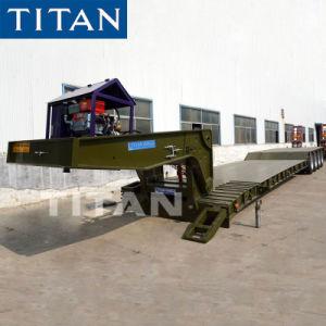 Titaan 120 Ton 4 Aanhangwagen van Lowboy van de Hals van de Gans van de As de Hydraulische Afneembare voor Vervoer van de Bulldozer