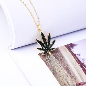 Halsband van de Ketting van het Sleutelbeen van de Tegenhanger van het Blad van het Kristal van de manier de Eenvoudige