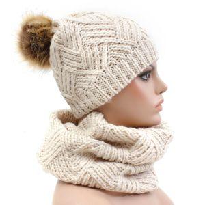 Comercio al por mayor Pom Pom tejidos invierno Beanie Hat bufanda conjunto 6c54fde3998