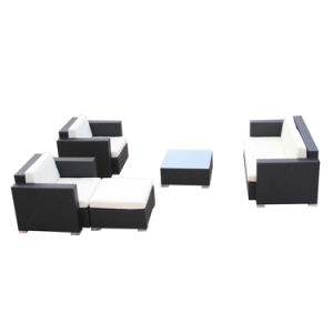 Novo estilo de mobiliário de jardim exterior Castanha Lounge Deck de canto de vime Sofá Definido