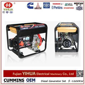 Portable électrique de 5kw 5kVA 6kVA ouvert/générateur diesel refroidi à l'air silencieux