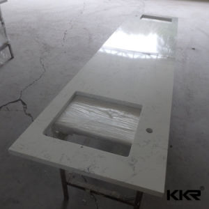 Heißer Entwurf Corian feste Oberflächeneitelkeits-Oberseite für Hotel-Projekt