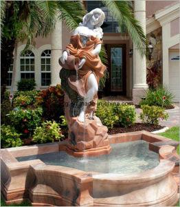 Senhora Estátua Stand Flouring Escultura Humana Chafariz de Pedra