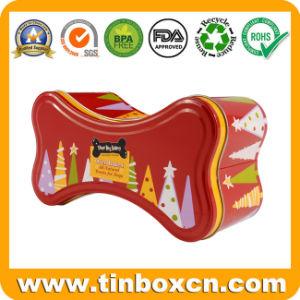 Pet Metal Bone-Shaped tratar Tin Tin Box galletas para perro
