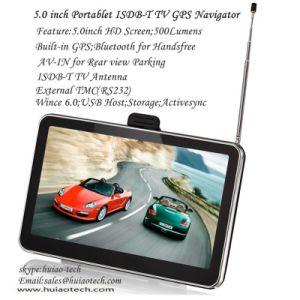 Barato 5.0 Carro do sistema de navegação GPS portátil com o TMC Bluetooth AV-in ISDB-T POR SATÉLITE GPS Navigator, Controlador de câmara de retrovisor do carro