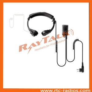 De bidirectionele Radio Tactische Microfoon van de Keel met de Akoestische Oortelefoon van de Buis