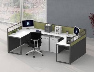 4人のための32のmm現代L形の区分のオフィスワークステーション机の家具