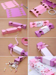 手製のバレンタインのギフト包む考えペーパーキャンデーボックス