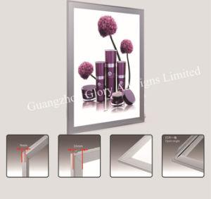 De aluminio plateado pulido SNAP Frame Caja de luz de la publicidad fotograma póster