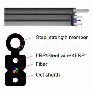 FTTH 1-4のコア光ファイバメッセンジャーが付いている屋外のドロップ・ケーブル