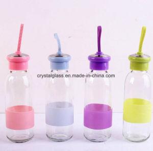 Novo design do frasco de bebidas de água de vidro com tampa engraçado