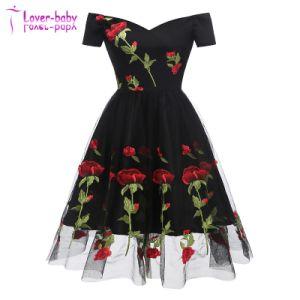 Rose romantique Fleur dentelle Parti noire robes
