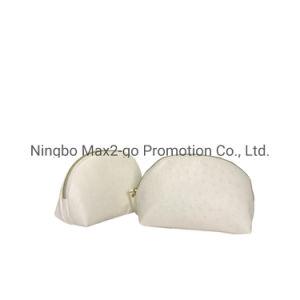2019 El otoño de Half Moon elegante blanco conciso Avestruz PU bolsa de cosméticos