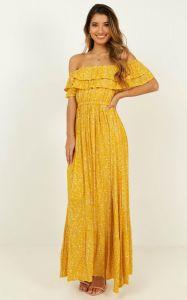 Womens off Maxi robe de l'épaule en fleurs jaunes