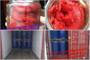 Inserimento di pomodoro Brix 36-38% in sacchetto asettico 220L in timpano