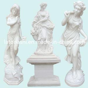 Het hand Gesneden Beeldhouwwerk van de Tuin, de Witte Marmeren Gravure van het Standbeeld van het Cijfer van de Steen