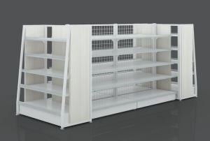 Luxuxholz-und Metallgerades Form-Supermarkt-Fach