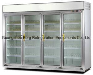 Puerta de vidrio comercial supermercado Mostrar refrigerador para frutas y verduras