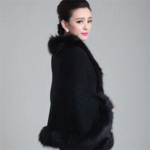 Fashionペーズリー女性ジャカードアクリルの編まれた毛皮の冬のショール(YKY4461)