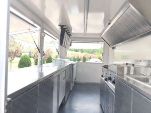 Ristorante degli alimenti a rapida preparazione del carrello dell'hamburger dei 2018 Mobile con la grande rotella