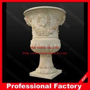 Стороны резного камня в саду ваза мрамора, мраморными Flowerpot сеялки