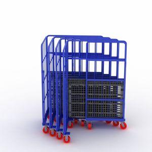مستودع 4 عجلات فولاذ شحن لف قفص طيّ لف وعاء صندوق