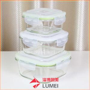 Recipiente de alimentos de armazenamento de vidro borossilicato Bento Lancheira com tampa sem BPA