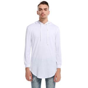 긴 줄 두건을%s 가진 보통 긴 소매 Mens t-셔츠