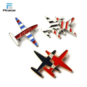人の金の銀の金属3Dの模型飛行機の航空機の折りえりPin