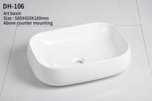 Vierecks-dünne weiße Badezimmer-Schrank-Kunst-keramisches Handwäsche-Bassin (DH-104)
