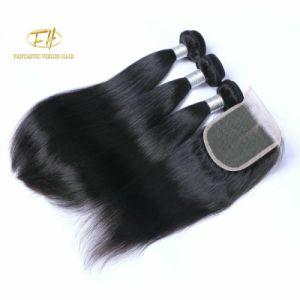 Recto seda brasileño/Virgen India/Remy cabello tejido con Natural Color negro.