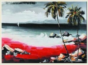 Het abstracte Met de hand gemaakte Olieverfschilderij van de Kunsten van het Zeegezicht op Canvas