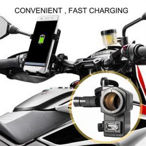 Adaptador de puerto de alimentación USB de 5V/impermeable 2.1A 1 abrazadera de manillar Motos Salida USB Adaptador de Corriente Cargador USB con la toma del encendedor del coche