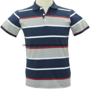 Os homens personalizada OEM de manga curta do logotipo personalizado Striped camisas polo