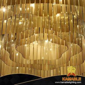 Lampadario a bracci personalizzato del soffitto di disegno interno dell'ingresso dell'hotel grande (KJ007)