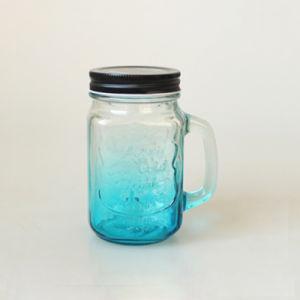 Kundenspezifisches geprägtes Glasmaurer-Glas des eiskalten Getränk-500ml mit Griff