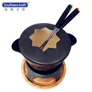 POT smaltato nero economizzatore d'energia di successo globale del formaggio del ghisa/POT del fuoco con il rilievo di legno del POT