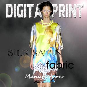 100% poliéster tecido vestido acetinado impresso Digital