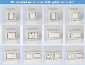 La norme britannique Sockets UK de prises électriques Weather-Proof Residential Prise murale avec interrupteur TUV certificat CE IP55