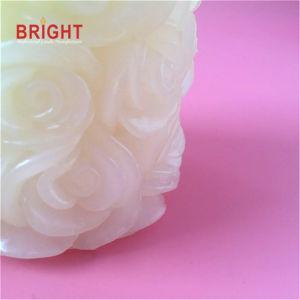 White Rose Shape gravado metálico Vela Pilar com aroma Sandalwood