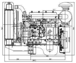 水ポンプのための水によって冷却されるディーゼル機関。 消火活動および等