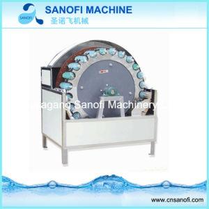 Frascos redondos de vidro a lavagem com água da máquina de escovagem