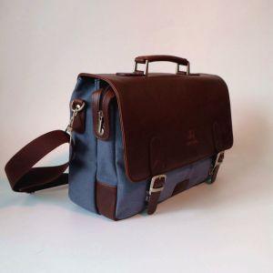 Vintage cuir synthétique toile portefeuille mallette pour ordinateur portable Messenger Bag Sac à main