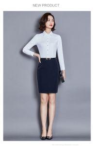 2019 Chiffon de seda de grau superior/Algodão Camisola Office Lady Designs uniforme para Slim Fit mulheres camisas e blusa