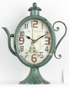 Decoración Vintage de metal de forma de tetera Verde Antiguo reloj de mesa
